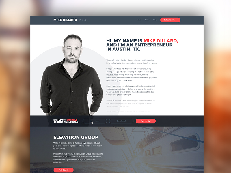 About Page design website typography red blue clean photography web marketing landing logo branding