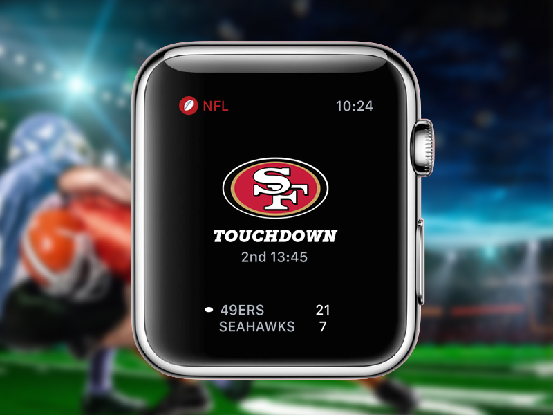 Apple Watch NFL Game Tracker Concept mobile time innovation dashboard watch apple 49ers touchdown football ui ux design