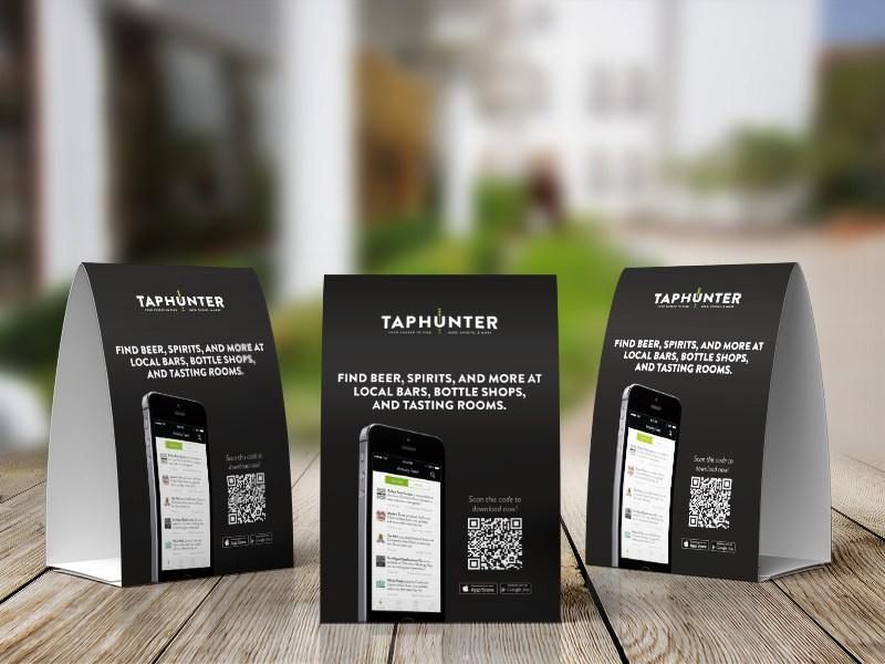 taphunter table tents by dustin lamont dribbble dribbble