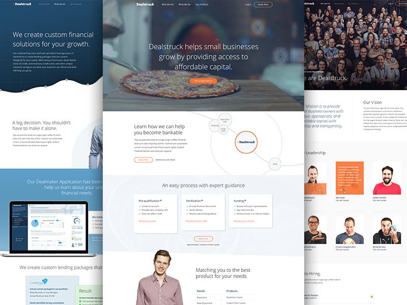 Dealstruck Redesign ixd photography graph website mockup illustration video blue ui ux design financing