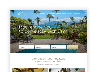 Mauian.com copywriting cta website cheesy hospitality freelance creative design hawaii resort hotel maui