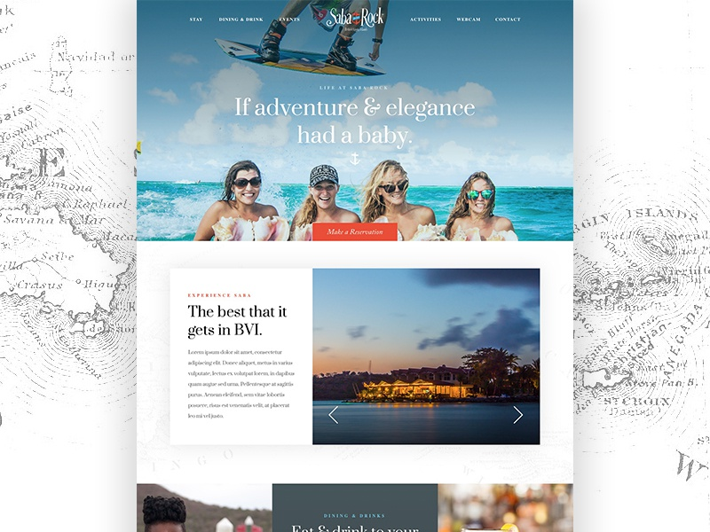 Saba Rock redesign website design creative private adventure typography color elegance islands british virgin islands saba rock