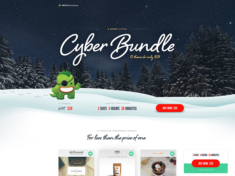 A Merry Little Cyber Bundle - MOJO Marketplace cabin winter holiday mojo marketplace template ecommerce sale website landing creative design cyber monday