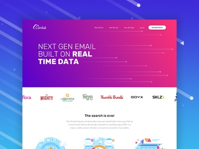 Cordial.com machine learning blue typography design personalized insights analytics marketing data email cordial