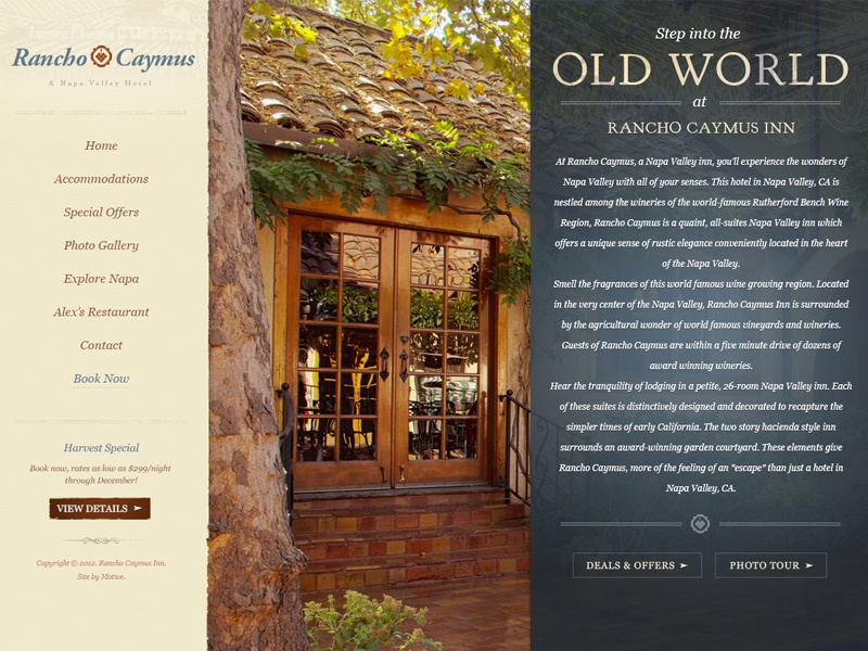 Rancho Caymus Website Design valley website design rancho napa napa valley california wine mediterranean old world hotel rutherford deals cta call to action content homepage home page web design textures specials subtle wine country