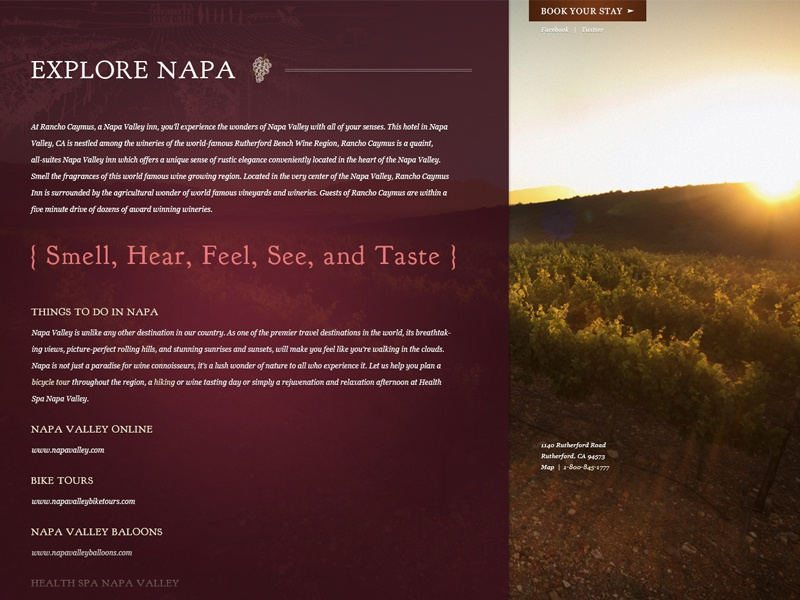 Rancho Caymus Interior Page valley wine country subtle specials textures web design home page homepage content call to action cta deals rutherford hotel old world mediterranean wine california napa valley napa rancho design website
