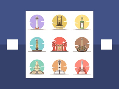 monument in indonesia part 3 icon color flat  design monument illustration flat design flat illustration flatdesign circle vector illustrator illlustration cartoon