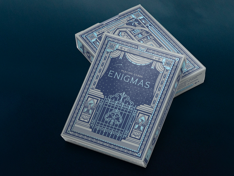 Enigmas lighthouse windmill playing cards code key owl gate books shelf cards