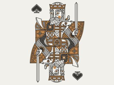 King Ess king. cards royal flower bird spade
