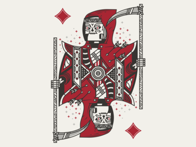 Little Red Riding Reaper  skeleton reaper grimm playing cards card diamond jack