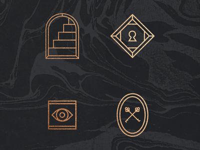 Always Watching marble cult symbols door stairs lock key eye
