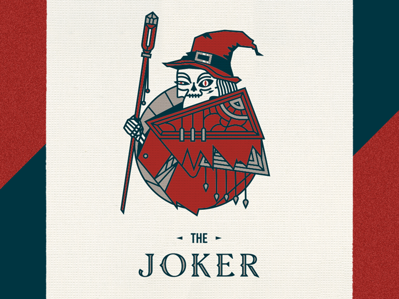 The Joker staff playing cards witch wizard skeleton hat joker