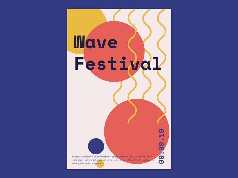 Poster design for wave festival festival typography branding visual design poster design poster concept ui design sketch