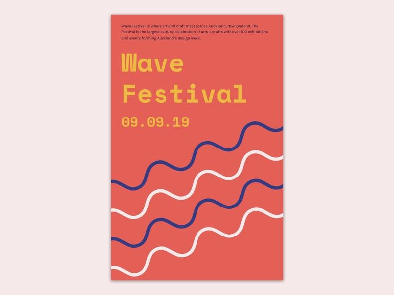 Poster design for wave fesitval branding typography visual design festival poster design poster concept ui figmadesign figma sketch