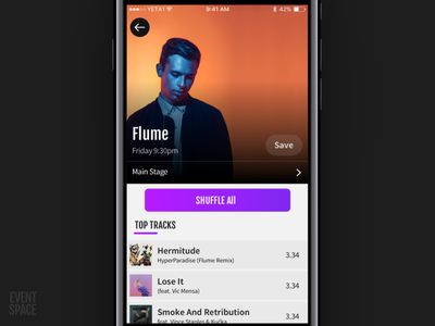 Event Space - Artist Page music player festival dj artist ui events
