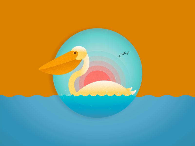 Swan and sunset ui design logo icon illustration