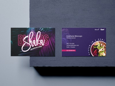 Business card - Shaka brand mockup typography contact healthy fruits asai bussines card brand identity branding design