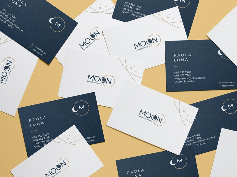 MOON Business Cards complementary card mockup business card design businesscard moon typography brand identity logo colorpalette branding design