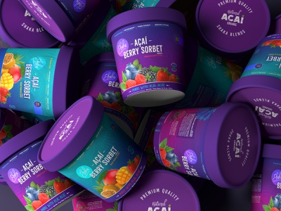 Packaging design for Açaí brand colorpalette typography brand identity design icecream mockup graphic design branding logo packaging 3d