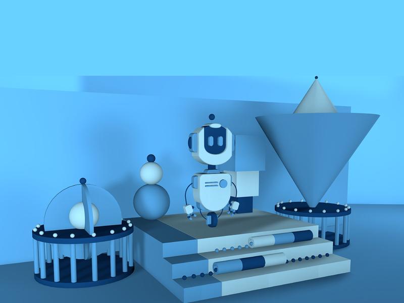 Robot geometric vector photoshop ilustrator diseño ilustrador de adobe cc ilustración logo diseño robot cinema4d