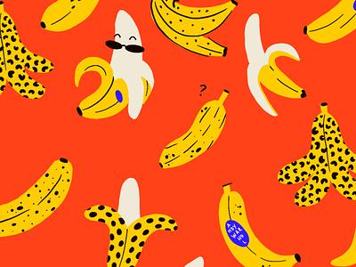 Bananas warhol pop art surfacedesign ipadpro ipad procreate pattern art pattern fun banana digital art animals vector flat textured digital illustration illustration design