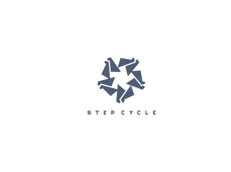 STEP CYCLE logo footsteps logo step logo cycle logo marks logo branding logo brand logo mark logoabsract logo design logo