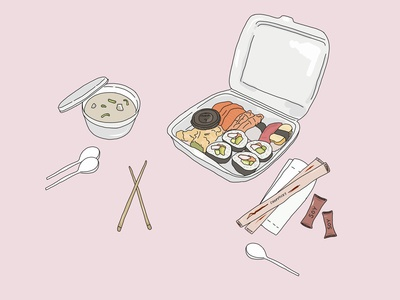 Takeout for 1, utensils for 3