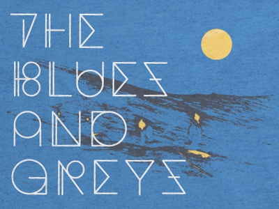 Blues and Greys Shirt band shirt merch apparel mountain type typography