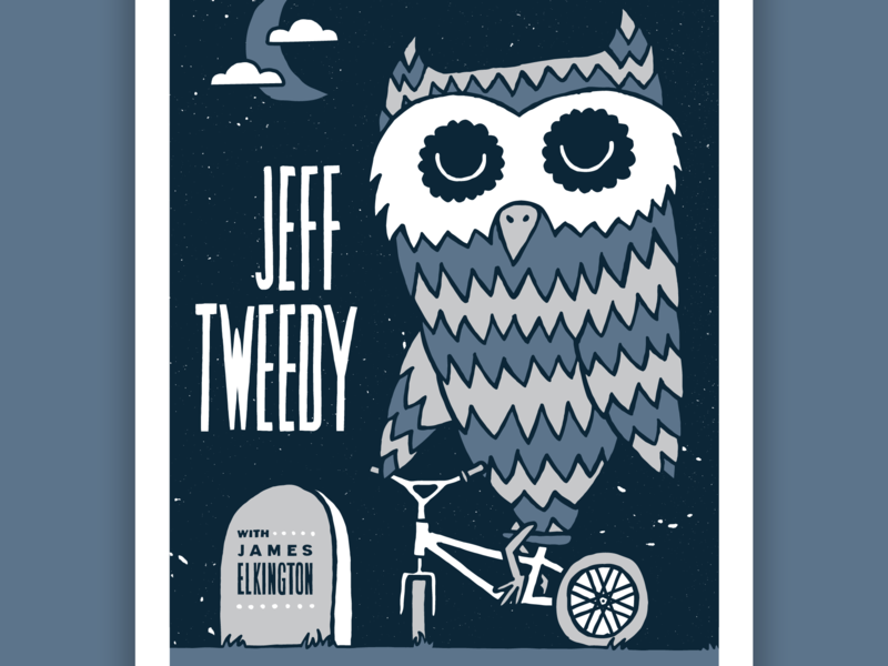 Jeff Tweedy Poster gigposter night tombstone graveyard clouds moon bicycle bike owl wilco jeff tweedy