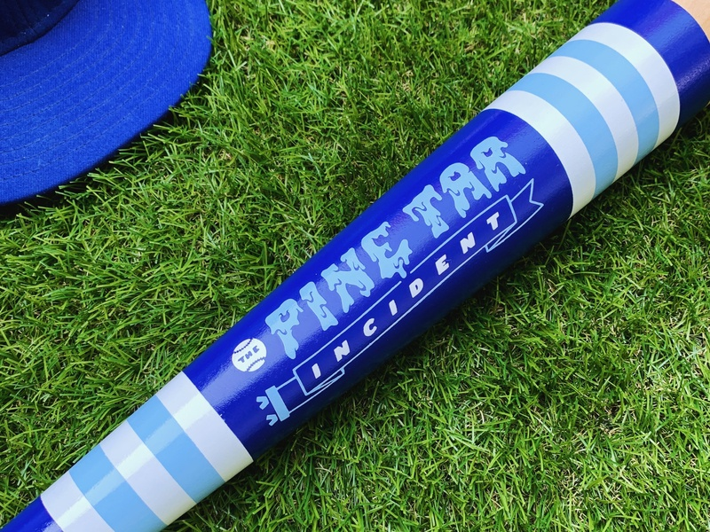Mitchell Bat Co Artist Series - Pine Tar Incident Bat billy martin lettering pennant stripes kc kansas city george brett royals baseball pine tar mitchell bat co bat