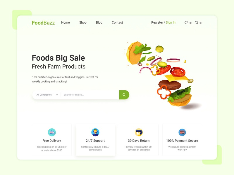Foodbazz eCommerce Home Screen