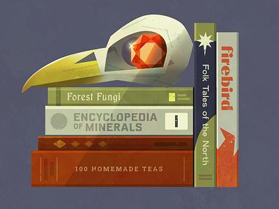 Fairytales graphic design library bird gem spooky fairytale jewel skull books typography illustration