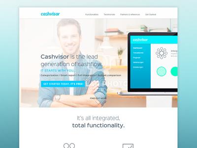 Cashvisor green white blue page one landing web website money finance cash