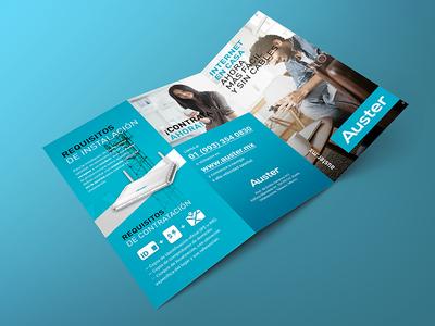 Auster — Trifold brochure telecom internet mockup flyer trifold brochure