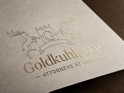 Goldkuhl Attorneys lawyers law attorney business card mockup gold elegant classic shield deer branding logo