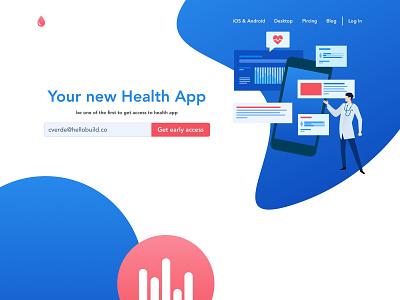 Healt App illustration website design ui ux web blood health care health app helath app