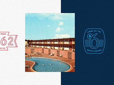 Motel 6 Badges badges motel6 motel sign 60s retro vector badge branding motel