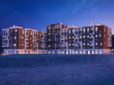Premium residential complex 3d illustration house building appartements residential complex