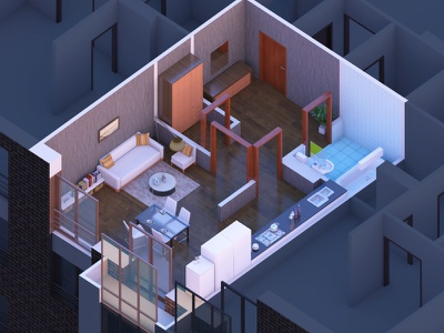 Residential complex apartment residential complex appartements building house illustration 3d