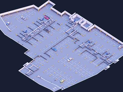 Residential complex underground parking 3d illustration parking building residential complex