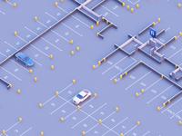 Residential complex underground parking
