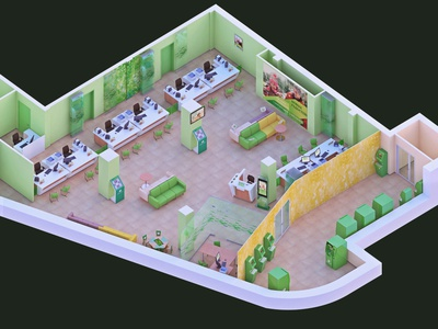 Bank branch bank office 3d illustration