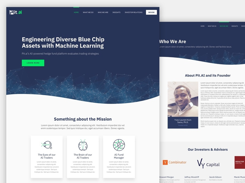 Pit.AI Marketing Site design curve web design marketing ai machine learning