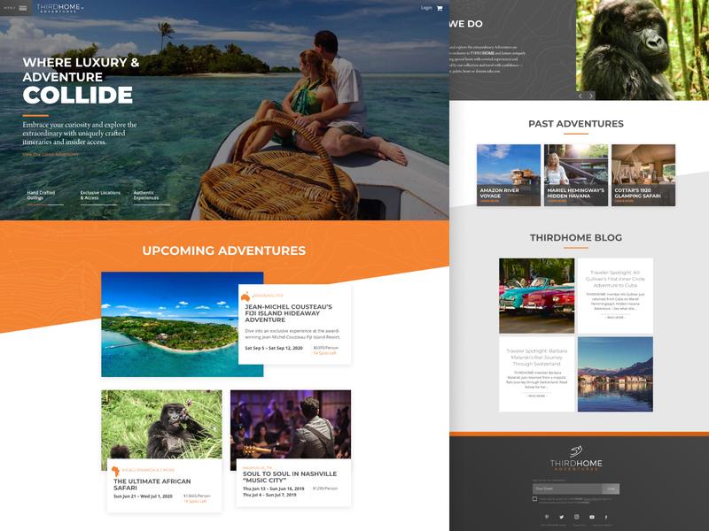 ThirdHome Adventures web  design landing page wordpress home luxury travel