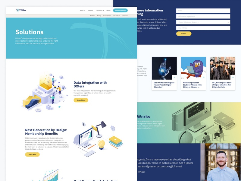 DXtera.org Redesign: Solutions Page wordpress website design website web design launched illustration html css