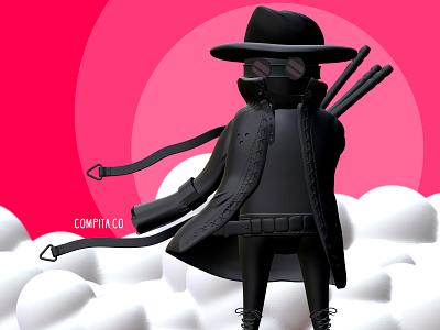 3D Hidden Boy design illustration ninja 3dartist asian 3d art 3d