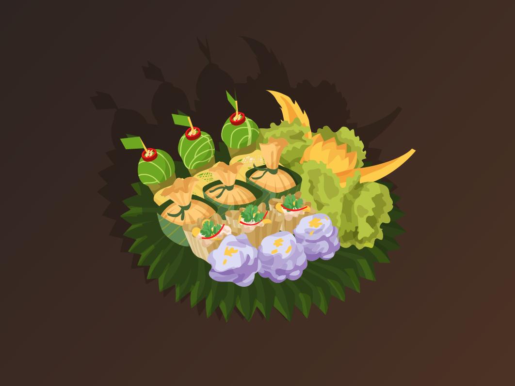 Ancient Thai Food - Bussarakam illustration food thai vector design