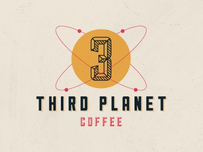 Third Planet Concept logo indentity coffee space planet earth third planet retro