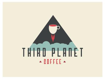 Third Concept 2 logo indentity coffee space planet earth third planet retro rocket blast off espresso