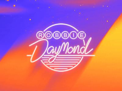 RD Logo retro neon neon lights logo